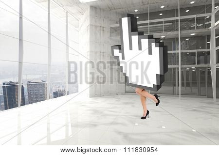 Cursor with legs against modern room overlooking city