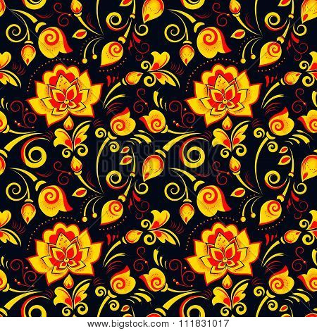 Floral Seamless Pattern In Russian Style Khokhloma