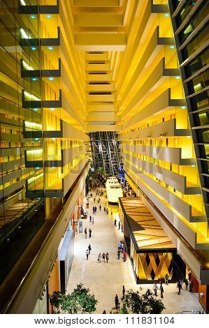 SINGAPORE - NOVEMBER 07, 2015: inside the Marina Bay Sands Hotel. Marina Bay Sands is an integrated resort fronting Marina Bay in Singapore