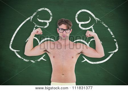 Geeky hipster posing topless against green chalkboard