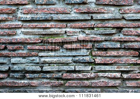 Red And Blue Marble Stone Brick Wall Detailed Texture Background Cold Filtered