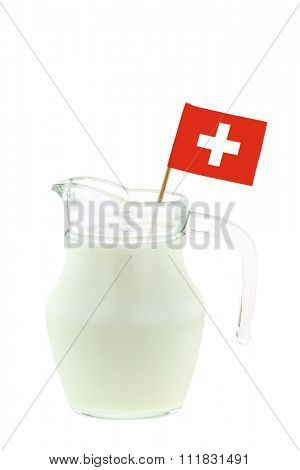 Closeup of a glass jug full of Milk with Swiss flag, isolated on white background