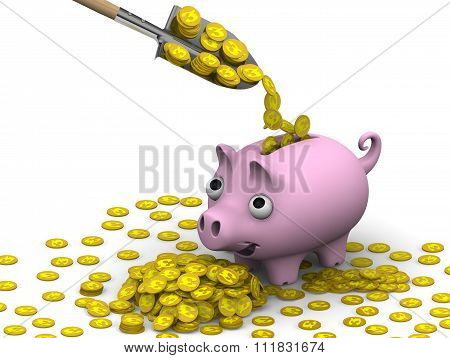 The concept of financial well-being (Coins with the symbol of the British Pound Sterling)