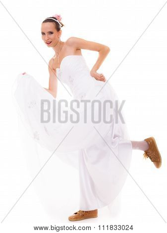 Running Bride Funny Woman In Sport Shoes