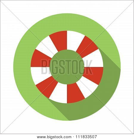 Life-buoy ring flat icon