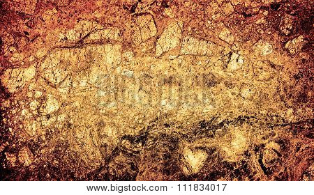 Texture Of Bronze Marble Slab Macro High Contrasted With Vignetting Effect