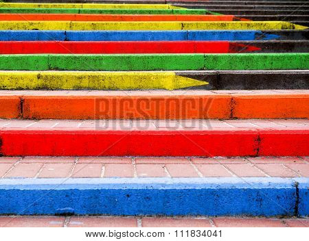 Stairway In The Form Of Pencils Of Rainbow Colors High Contrasted
