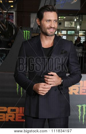 LOS ANGELES - DEC 15:  Edgar Ramirez at the Point Break Premiere at the TCL Chinese Theater on December 15, 2015 in Los Angeles, CA