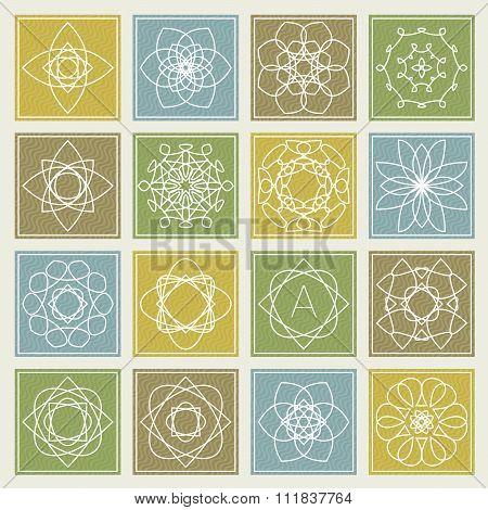 Set Of Floral Monogram Design. Line Art Elements. Vector