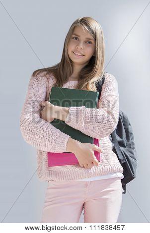 Teenage girl with  school bag