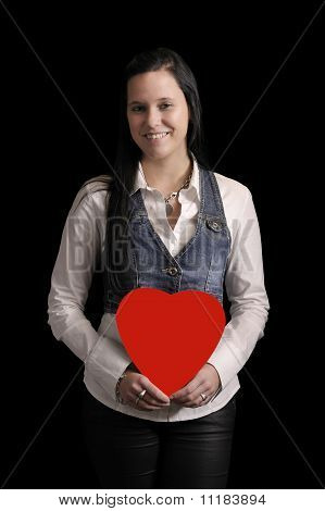 Young Woman With Red Heart In Her Hands
