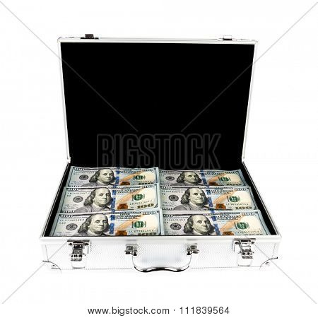 Suitcase of money with hundred dollar on white  background