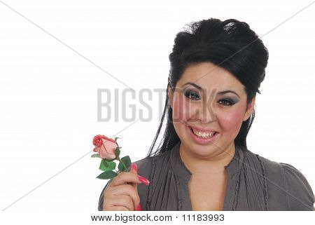 Hispanic Woman With A Rose