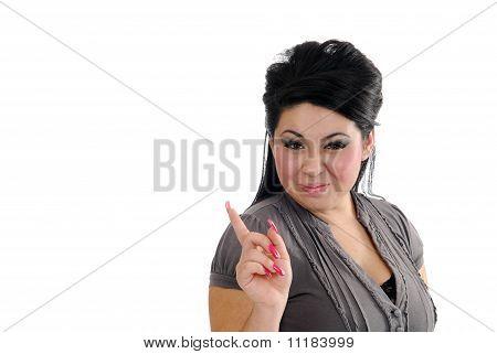 Happy Hispanic Woman Pointing