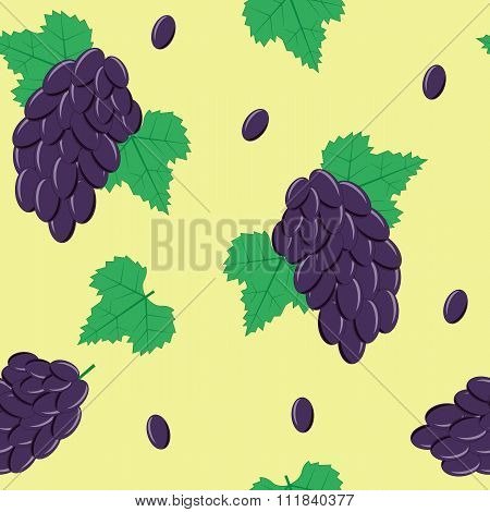 Seamless Pattern with Black Grapes on Light Green Background