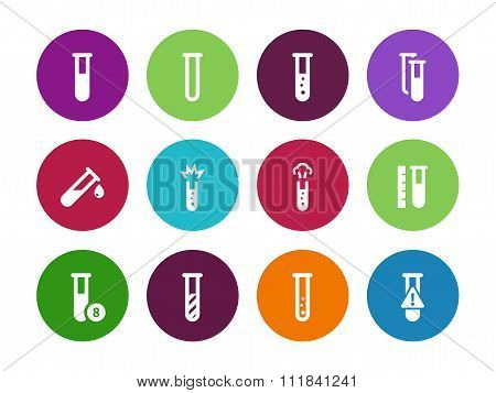 Microbiology equipment test tube circle icons on white background.