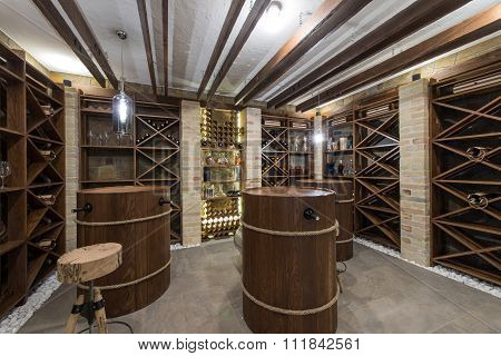 Wine Cellar In Luxury Villa