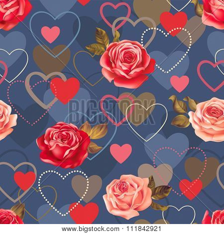 Seamless romantic pattern with roses and heart shapes. Vector illustration.
