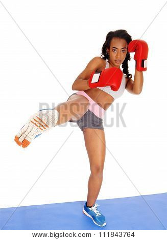 Boxer Woman During Boxing Exercise.
