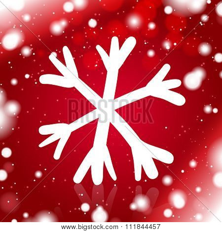 Simple Hand Drawn Snowflake on the Red Snow Background
