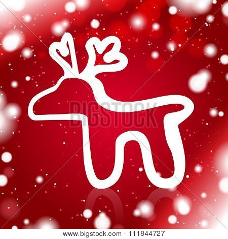 A Simple Deer Outline on the Red Snowy Background