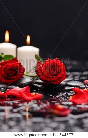 Two Red rose petals with two candle and therapy stones