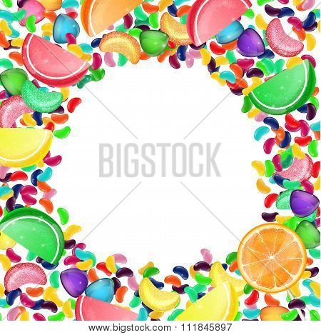 Colorful candy background with jelly beans, and jelly candies