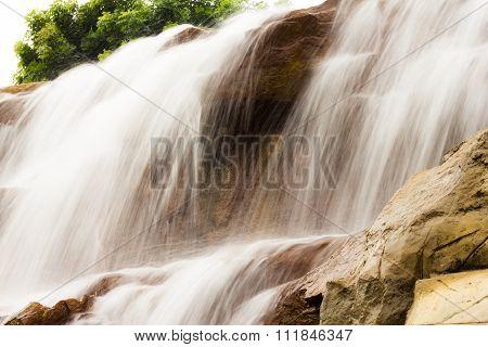 Beautiful Waterfall On The Rocks