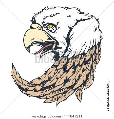 Vector Tribal Bald Eagle Tattoo Illustration isolated on white