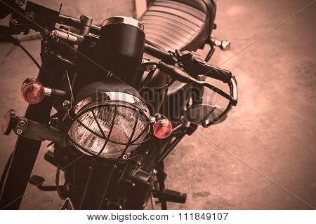 Selective Focus Point On Vintage Headlight Lamp Motorcycle