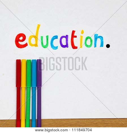 Education Teaching Sign On White Background.