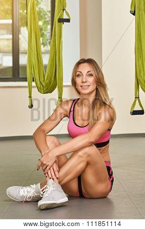 woman in Antigravity yoga studio