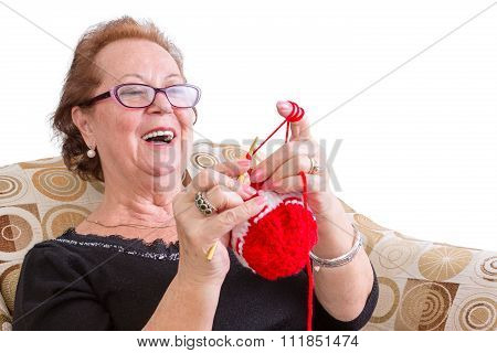 Happy Elderly Lady Enjoying A Joke