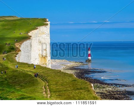 White cliffs and lighthouse