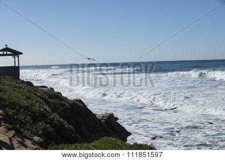 High Tide Coastal Waves Hitting The La Jolla California Shore