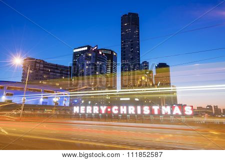 Merry Christmas sign in a city
