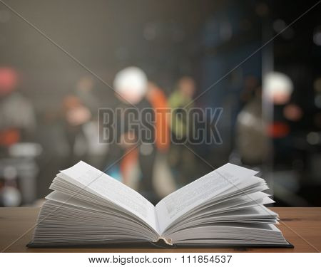 open book on the table in a night club