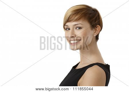 Profile portrait of happy woman in black dress, isolated on white