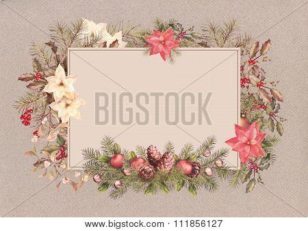 Christmas Vintage Watercolor Greeting Card