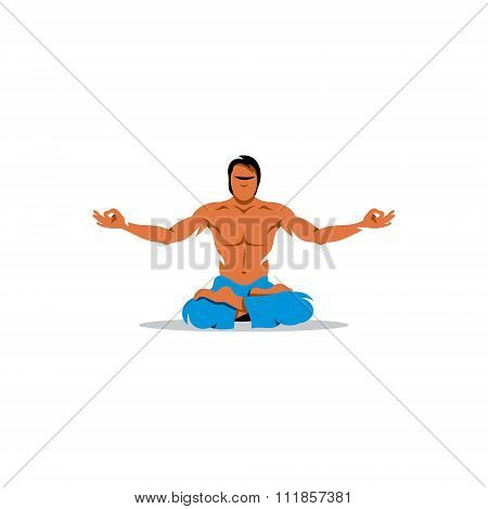 Yoga man. Vector Illustration.