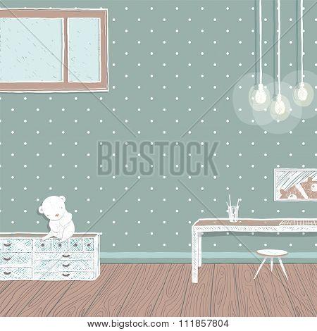 Children room dark with bulbs background design