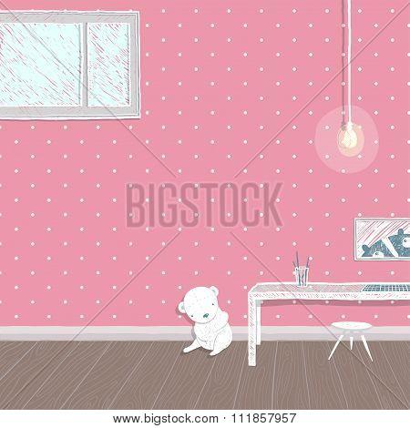 Children room pink background design
