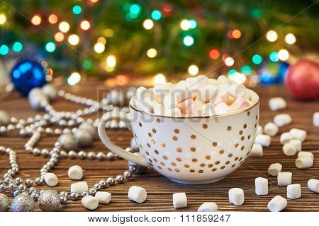 Cup With Marshmallows And Christmas Decoration