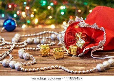 Christmas Decoration And Bag With Gift