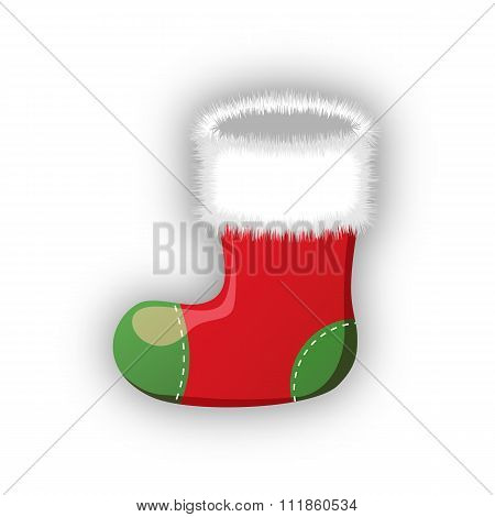 Empty christmas stocking isolated on white.