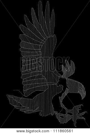 Eagle Embroidery In White On A Black Background