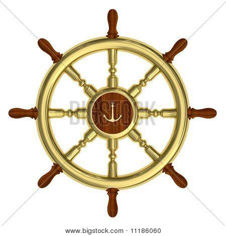 Golden Nautical Wheel Isolated