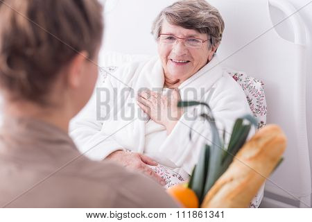 Ill Woman Having Family Support