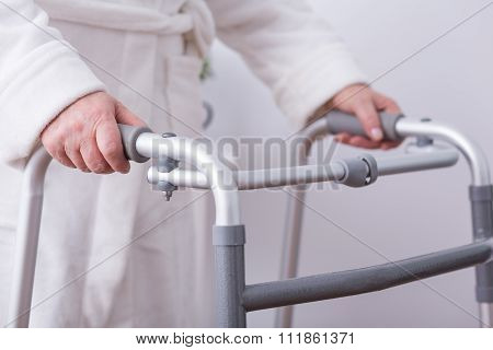 Disabled Person With Walking Zimmer