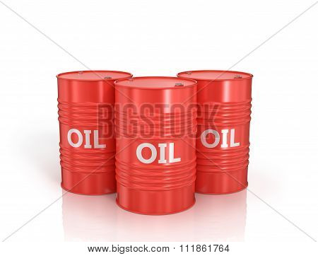 Three Red Oil Drums On A White Background.